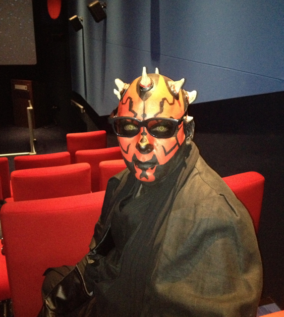 Darth Maul watching The Phantom Menace in 3D