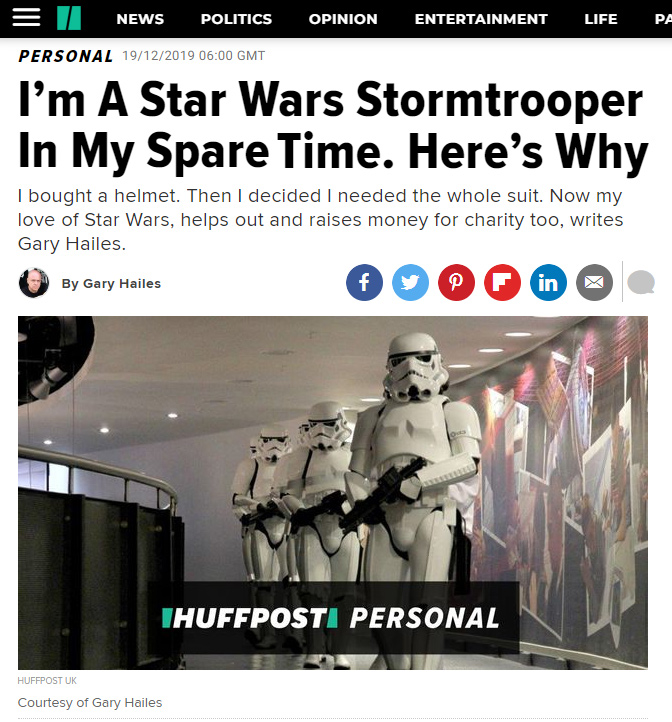 HUFFPOST - I'm A Star Wars Stormtrooper In My Spare Time. Here's Why by Gary Hailes