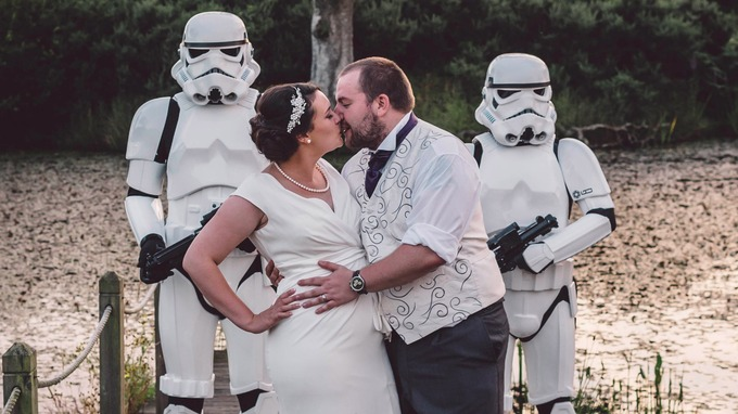 Bride Sophie and Groom Jarred pose with UKG Stormtroopers for their wedding photos