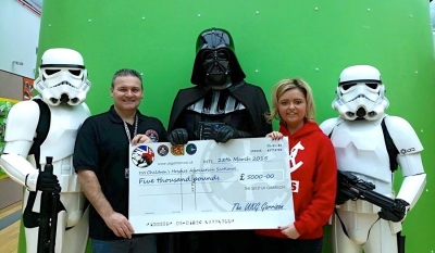 £5000 cheque presented to the Children's Hospice Association of Scotland (CHAS)